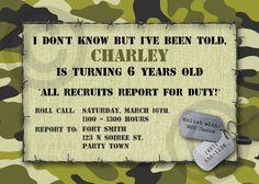 CAMO Birthday INVITATION or Baby Announcement - Printable Invite - Customizable - Military - Boys or Girls. $10.00, via Etsy.