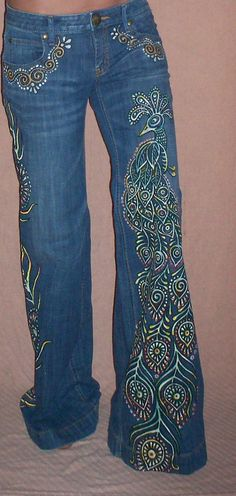 Hand Painted Peacock Bell Bottom Free People by reMusedClothing, $175.00