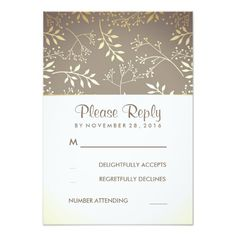 Baby's Breath Rustic Gold Foil Wedding RSVP Cards
