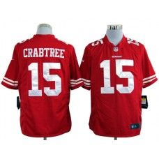 4a0e13568e4 Nike Mens San Francisco 49ers Michael Crabtree Jersey 15 Game Team Color Red  Reds Game