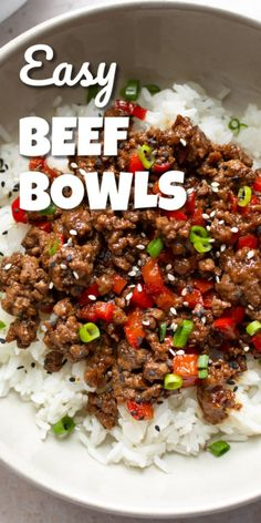 These simple ground beef bowls are a quick and delicious Asian-inspired recipe that makes the perfect easy weeknight dinner Ready in about 30 minutes Your family will love them The sweet and savory sauce will have everyone asking for seconds Healthy Ground Beef, Healthy Beef Recipes, Ground Beef Recipes For Dinner, Dinner With Ground Beef, Easy Dinner Recipes, Ground Beef Recipes Asian, Venison Recipes, Sausage Recipes, Quick Ground Beef Meals