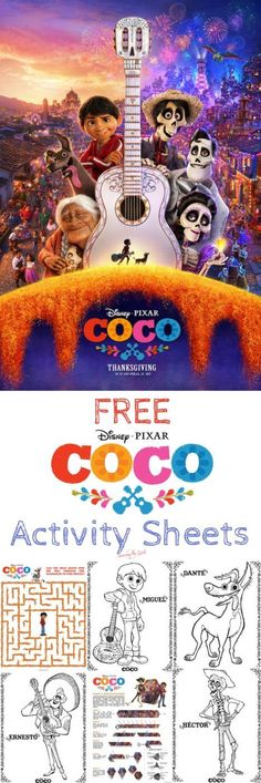 Coco coloring and activity sheets from Disney Pixar. They are free to download and enjoy. A great addition to your Coco themed birthday party or event. #PixarCocoEvent