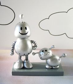 Its A Robot Kind Of Day - robot and bulldog polymer clay sculpture