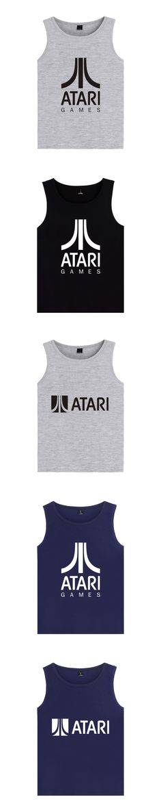 Logo of Atari Printed Tank Top Bodybuilding ATARI Tank Tops Men Black Summer Vest Plus Size tops Atari Games