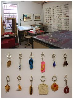small collections on large wall by small hooks