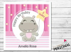 Personalised Birthday Card For Daughter Granddaughter Sister Niece Goddaughter Friend 1st 2nd 3rd 4th 5th 6th Cute Hippo