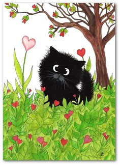 Black Fuzzy Cat You are One of a Kind Art - Hand Painted Original Painting by BiHrLe ck447