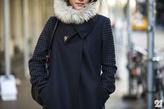 Smashing Style   blue zara coat with studded sleeves, fur snood, chloe marcie hobo