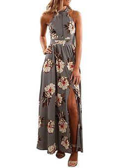 ZESICA Women's Halter Neck Floral Print Backless Split Beach Party Maxi Dress,Grey,Medium Source by outfits dresses sundresses Plus Size Maxi Dresses, Short Sleeve Dresses, Summer Dresses, Beach Dresses, Floral Dresses, Floral Maxi, Casual Dresses, Event Dresses, Dresses Dresses