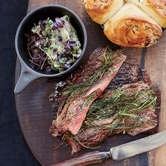 Griddled Gaucho Steak with Bread-and-Basil Salad