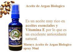 Marnys Aceite de Argan Biologico spray 50ml. El aceite biológico de Argán MARNYS se obtiene por prensado en frío de los futos del árbol de Argán en el sudoeste de Marruecos.