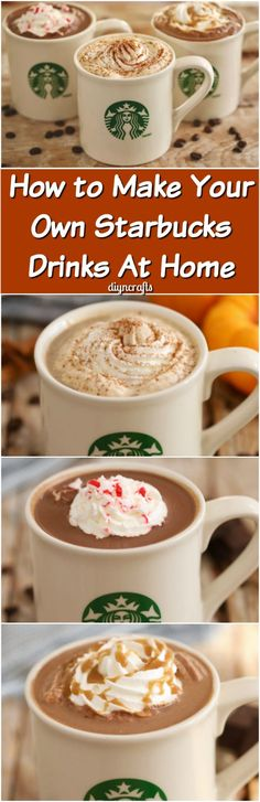 How to Make Your Own Starbucks Drinks At Home - This video teaches you how to make a Pumpkin Spice Latte, a Salted Caramel Hot Chocolate, and a Peppermint Mocha. Those are three of my favorite drinks, so I was thrilled that these were the ones featured in the video! via @vanessacrafting