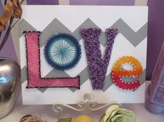 "String Art DIY Kit Love Sign Valentines Day by StringoftheArt. Use the Coupon Code ""PinLove"" and save 10% on all DIY String Art Kits in String of the Art's Etsy shop"