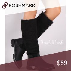Arrives This Week! Winter Knee Boots A fabulous stylish look to the winter boot.  Mixed media of faux suede and leather with fur lining for warmth. Buckle detail and non slip sole. Threads & Trends Shoes Winter & Rain Boots