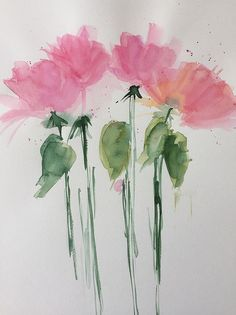 Pink Flowers Art Print featuring the painting 4 Pink Flowers Party by Britta Zehm