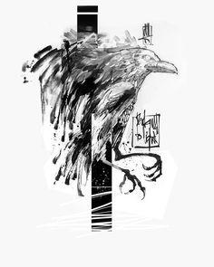 """518 curtidas, 5 comentários - Niko Inko (@nikoinko) no Instagram: """"Today's project #crow #raven #crowtattoo #raventattoo #sketch #sumi #sketchtattoo #niko #inko…"""""""