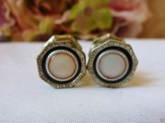 ANTIQUE VINTAGE 1920'S MOTHER OF PEARL CELLULOID  SNAP LINK CUFFLINKS CUFF LINKS
