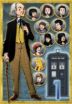 First in a series! Doctor #1 and his companions are available at the MarlowInc Shop via Redbubble.  Its a poster!  A print!  A postcard!  Its the first of eleven individual compositions celebrating the Doctors 50th anniversary! More to come! Have A Day!
