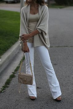 White jeans, khaki tank and cocoon sweater, cute small chain bag