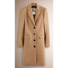 Burberry Tailored Wool Cashmere Coat ($1,875) ❤ liked on Polyvore featuring outerwear, coats, burberry, slim coat, beige coat, wool cashmere blend coat, wool cashmere coat and single breasted coat