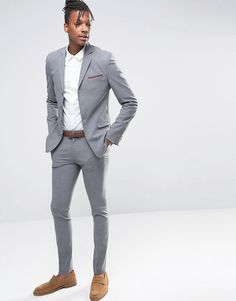 ASOS+Super+Skinny+Four+Button+Suit+In+Grey