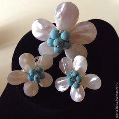 Купить Only for Princess.Серебряные серьги,кольцо с перламутром и бирюзой - разноцветный, перламутровые серьги