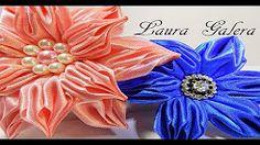 Flor drapeada en satén Satin ribbon flower Flor de fita Laura Galera - YouTube