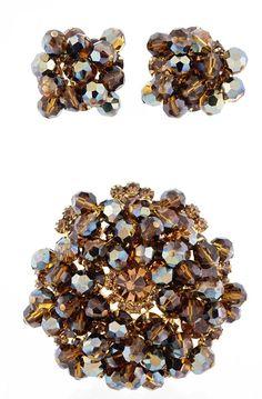 Juliana D&E Beaded Topaz Rhinestone Earrings And Pin Demi