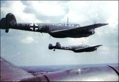 Messerschmitt Bf 110Cs in flight.