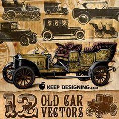 http://www.keepdesigning.com/illustrator/12-old-vintage-cars-vector-art-free/