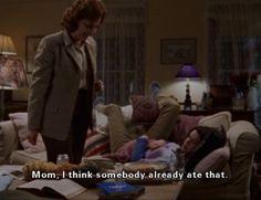 """""""Mom, I think somebody already ate that."""" -Lorelai, regarding mashed banana on toast"""