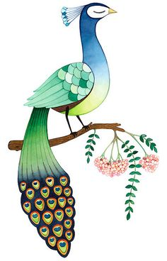 The Peacock archival print by joojoo on Etsy Peacock Painting, Peacock Art, Fabric Painting, Painting & Drawing, Bird Illustration, Watercolor Illustration, Watercolor Paintings, Illustrations, Madhubani Painting