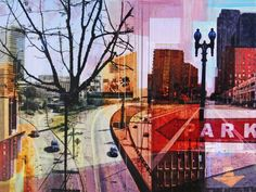"""Artist: Jon Measures; other 2012 Collage """"""""On The Drive In"""""""""""