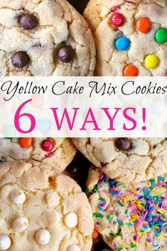 Yellow Cake Mix Cookies 6 Ways Yellow Cake Mix Cookies 6 Ways – Big, bakery style cookies made with melted butter. Requires only 4 ingredients. Add chocolate chips, m&m's, sprinkles, and more! Yellow Cake Mix Cookies, Cake Box Cookies, Cake Mix Cookie Recipes, Yellow Cake Mixes, Box Cake, Cupcake Recipes, Cookies Et Biscuits, Cake Batter Cookies, Sandwich Cookies