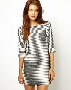 Raglan sleeve stripe shift dress