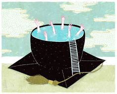 NPR- Paying back your student Loans An illustration depicting college graduates drowning in a mortarboard cap full of water