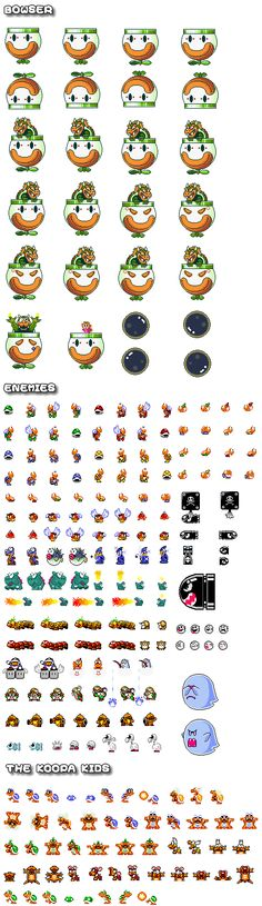 A load of Super Mario World sprites including lots of Bowser, the Koopa Kids and lots of enemies too.