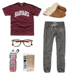 """sweatpants tag"" by hsmorris ❤ liked on Polyvore featuring Abercrombie & Fitch, UGG Australia, Polar, Ray-Ban, Kate Spade, chloesolms and hsmostlikedset"