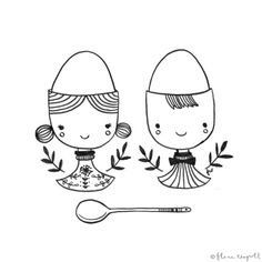 Flora Waycott - Inktober Day 16 - soft boiled eggs are all the more delicious with super cute egg cups! xx