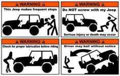 Funny Jeep warning stickers - pack of 4 and FREE SHIPPING - Picky Designz