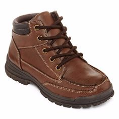 Arizona Boys Hiker Boots brown man made lace up size 1, 3, 6 NEW 19.99 http://www.ebay.com/itm/-/262394073375?