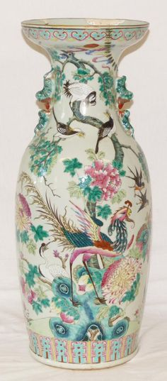 (Qing) Famille Rose. Famille Rose floor porcelain Vase. ca19th century CE. Qing dynasty, China.