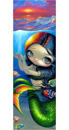 Jasmine Becket Griffith Art Big Print Signed Reaching for Sunset Mermaid Fish | eBay