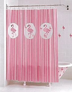 what a perfect bathroom! Says Karen Wilson, who has the best Pinterest flamingo thing going ...