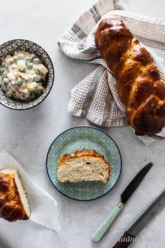 Olivier (Russian) salad and Sweet braided Easter bread - Ariadni's plate Olivier Salad, Braided Bread, Types Of Flour, English Food, Mixed Vegetables, Healthy Sides, Dry Yeast, Tray Bakes, Breakfast Recipes