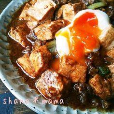 食欲をそそる味噌煮込みにお豆腐を追加。豚でもミンチでもお好みのお肉であっという間に出来ちゃうスピードメニュー。お肉より豆腐を多めにするとよりヘルシーで満腹感を得られますよ。