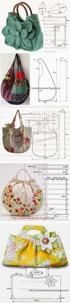 - main page only. Site does not have info on these purses Bags + pattern.- main page only. Site does not have info on these purses . Fabric Crafts, Sewing Crafts, Sewing Projects, Tape Crafts, Purse Patterns, Sewing Patterns, Knitting Patterns, Crochet Patterns, Diy Couture