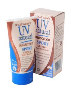 The UV Natural Sport Sunscreen is ideal if you're outdoors playing sport. It's a broad spectrum sunscreen that protects against UVA and UVB with the physical barrier of zinc. Hello Charlie - UV Natural Sport Sunscreen, $28.95 (http://www.hellocharlie.com.au/uv-natural-sport-sunscreen/)