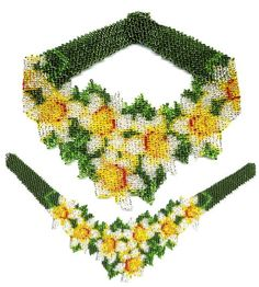 Finished, Beaded Daffodil Weave Necklace by Dragon (Also available in pattern & kit).