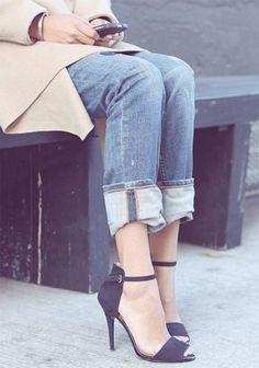 Heels with boyfriend Jeans.